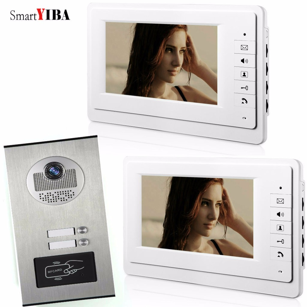 SmartYIBA Home Apartment Kits With RFID Keyfobs Door Camera 7 inch Wired Video Doorbell Door Phone System For 2 Unit