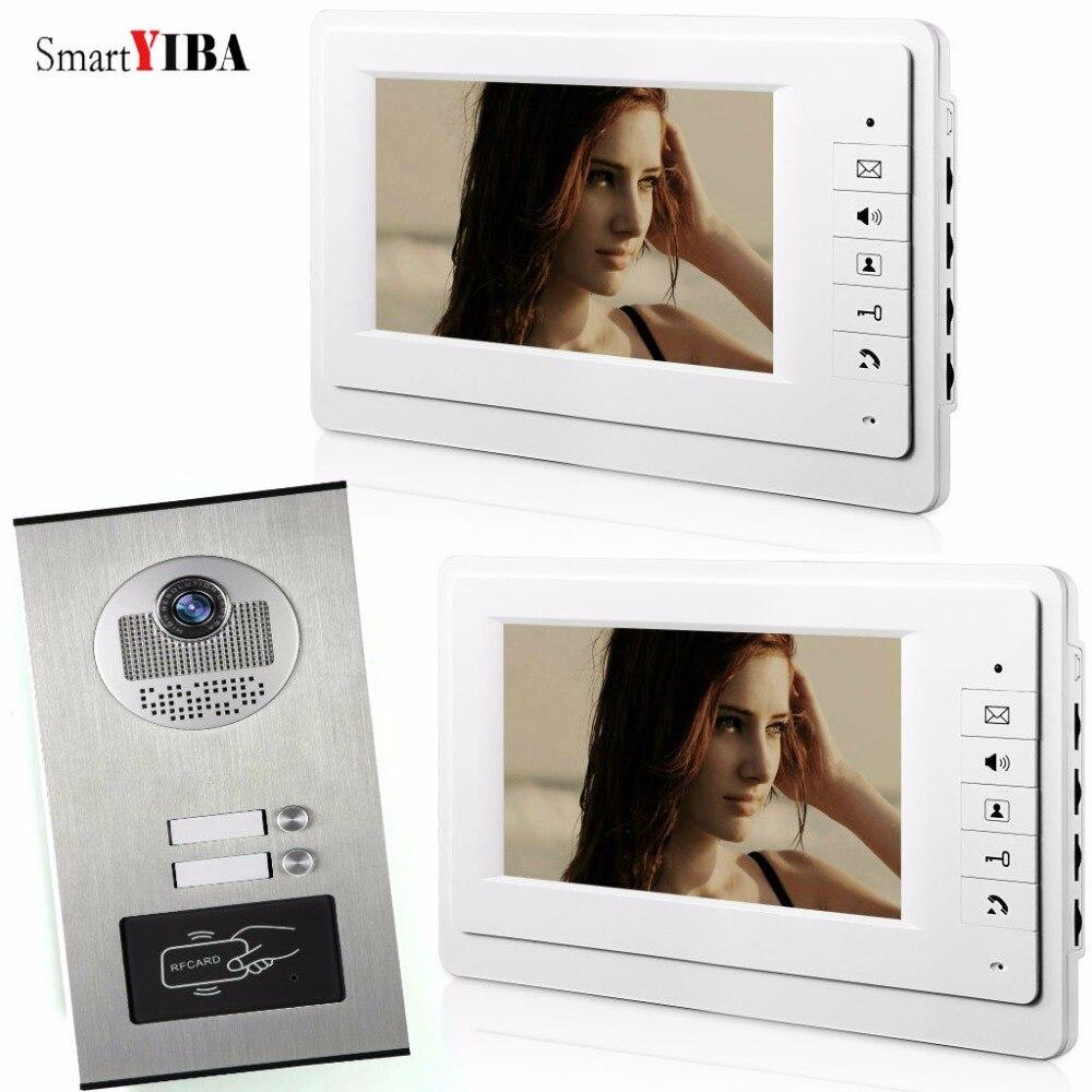 SmartYIBA Maison Appartement Kits Avec RFID Télécommandes Porte Caméra 7 pouce Filaire Vidéo Sonnette de Porte Téléphone Système Pour 2 Unité