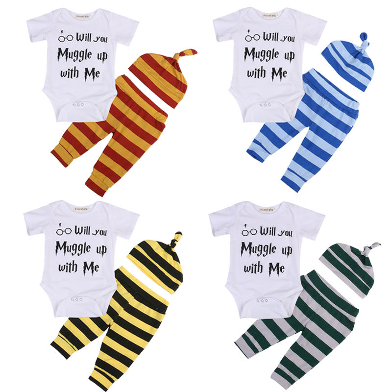 3PCS Set Harry Potter Newborn Baby Clothes Muggle Print Romper Bodysuit+Stripped Pant Hat Outfits Bebek Giyim Kids Clothing Set