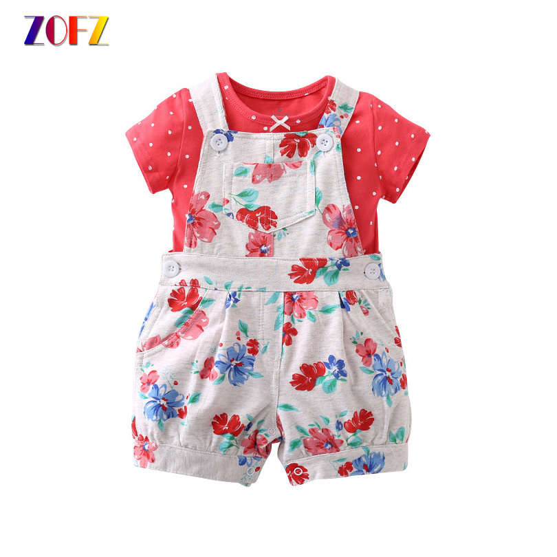 ZOFZ Summer Baby Clothes 2Pcs/Set Pplka Dot Fashion New Short Cute O-Neck Regular Hot Sale Short Boy Set Suit Baby Girl Clothing 2pcs set baby clothes set boy