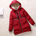 Женщины куртка толщиной 2016 ватные куртки женщины зимняя куртка женская верхняя одежда тонкий куртки средней длины вниз хлопка парки красный пальто