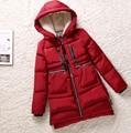 Mujeres parka gruesa 2016 de invierno femenina wadded chaqueta chaquetas de las mujeres prendas de vestir exteriores delgada medio-largo abajo parkas de algodón rojo abrigos