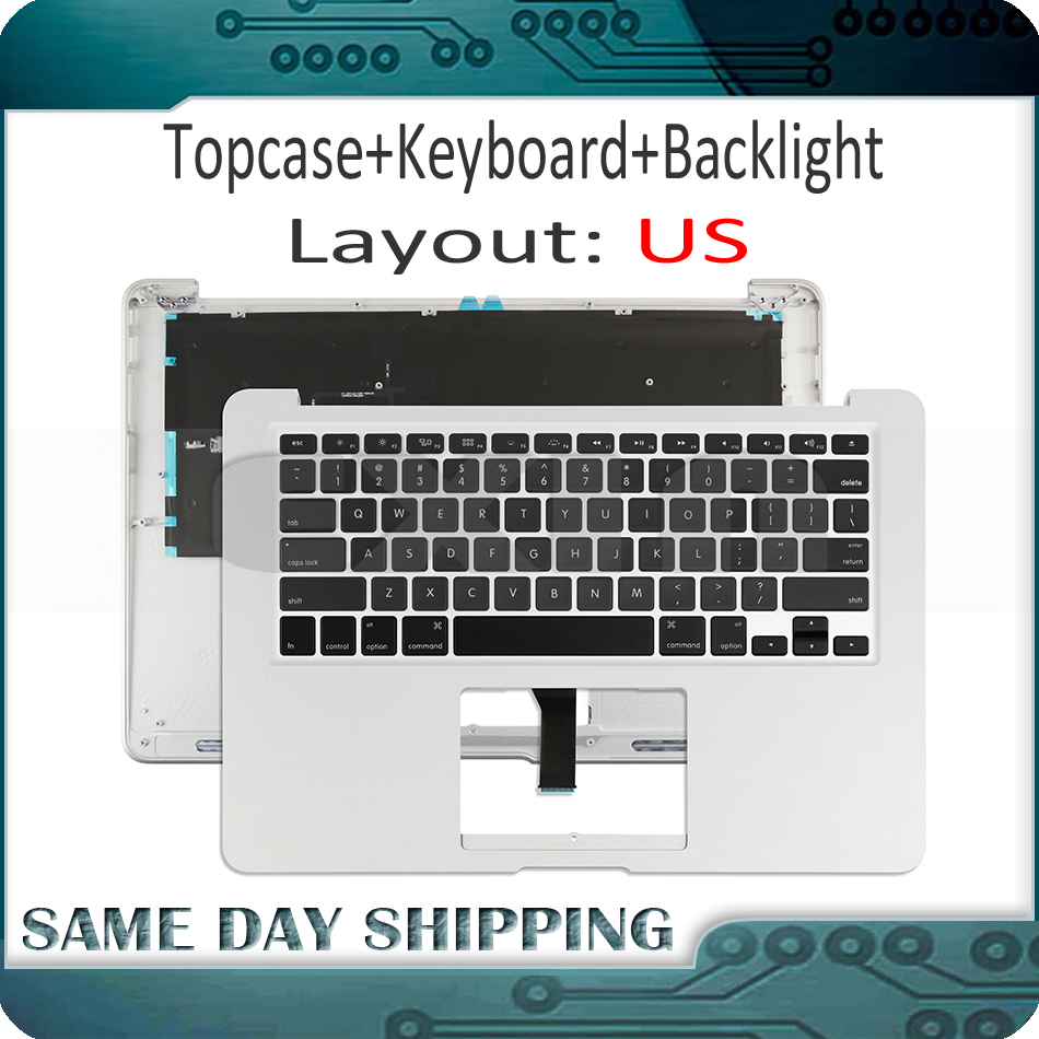 New for Macbook Air 13'' 13.3 A1466 Top Case Topcase with Keyboard US USA English Version+Backlight 2013 2014 2015 Years new dk denmark top case topcase palmrest with keyboard backlight for macbook air 13 3 a1466 2013 2014 2015 years