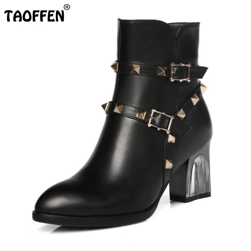 Fashion Women Pointed Toe Real Leather Half Boots Woman Stylish Rivets Buckle Botas Square Heel Shoes Footwear Size 31-45