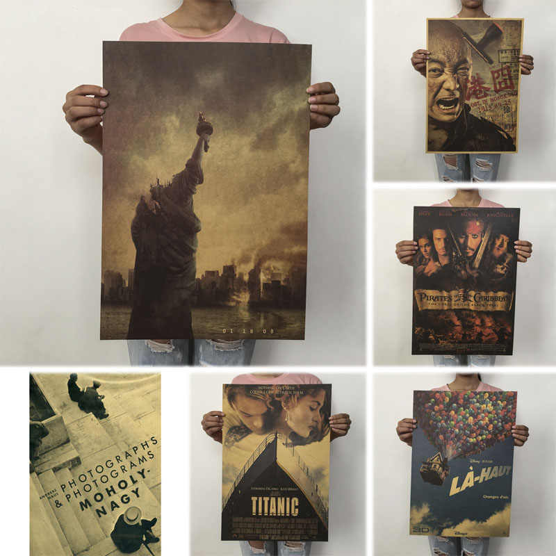 1PC 50X35cm Vintage Posters Movie Poster Kraft Paper Posters Drawing Classic Poster Bar Home Decoration Painting Wall Sticker