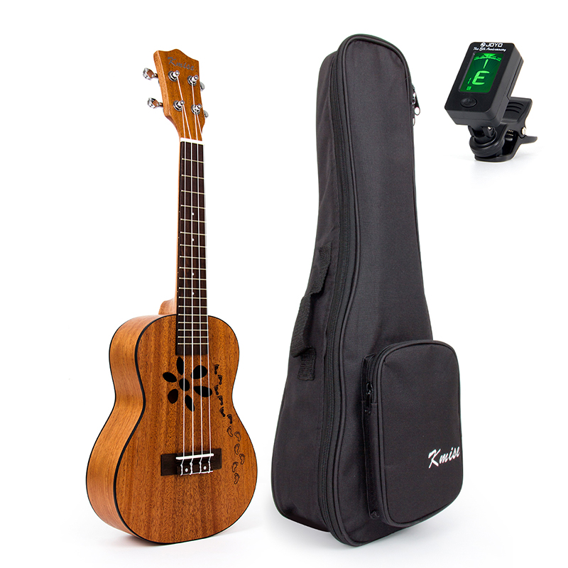 Kmise Mahogany Ukulele Concert Ukelele Uke 23 inch 4 String Hawaii Guitar with Gig Bag Tuner kmise soprano ukulele spruce 21 inch ukelele uke acoustic 4 string hawaii guitar 12 frets with gig bag