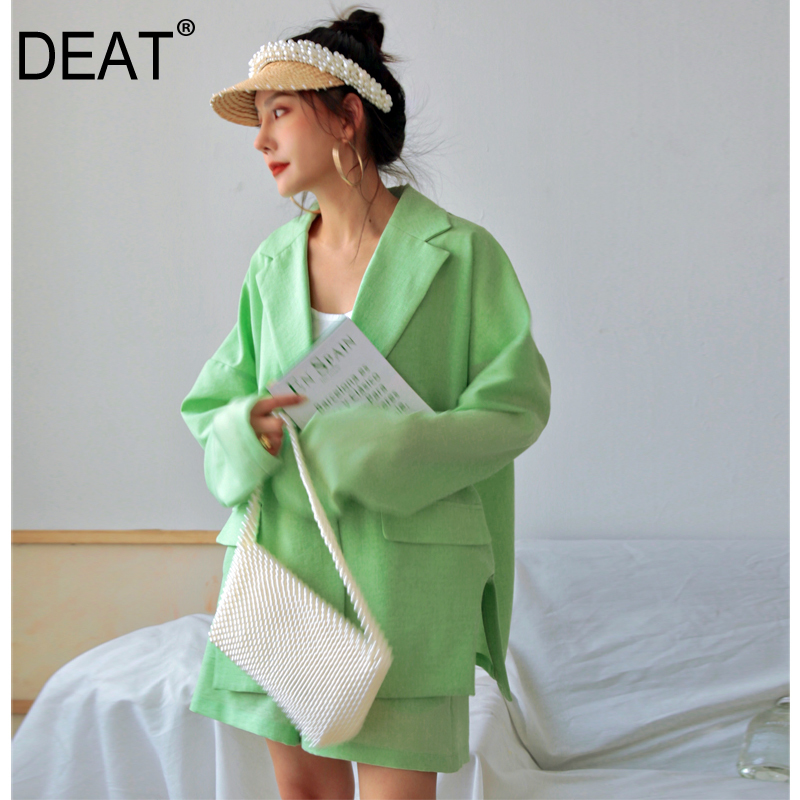 DEAT 2019 New Summer Fashion Women Clothes Turn down Collar Full Sleeves Pocket Single Button Jacket