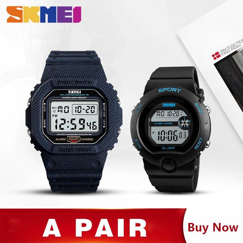 SKMEI Couple Sport montre Date semaine montres-bracelets montres pour hommes femmes mode numérique Couple montres pour amoureux 1471 1334 ensemble