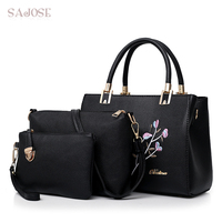Woman Compound Handbag Tote Bags 3 Sets Famous Brand Leather Crossbody Bags For Women Messenger Bag Ladies Black Hand Bag SAJOSE