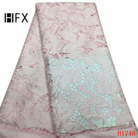 HFX Baby Pink African Fabric French Embroidered High Quality Tulle Fabric Lace Nigeria Net Lace Fabric for Party Dress X1748