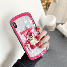 TPU+PC hard Cute Luxury Case For iphone 6 6S 7 8 Plus Phone Case For iphone X Xs Max Xr cover cartoon Lotso bear Diamond pattern