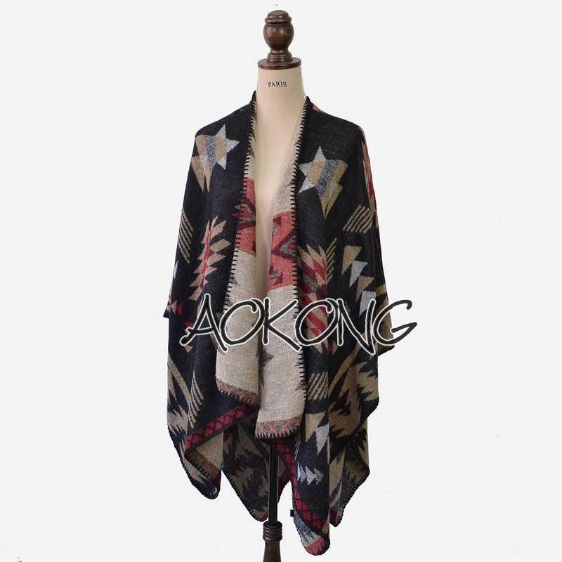 Top Fashion Limited Black Acrylic Adult Women Poncho Blanket Cape Oversize Geometric Tribal Aztec Style Ponchos Shawls Wraps