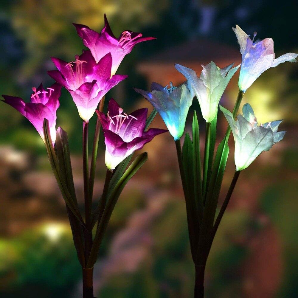 Solar ao ar livre Luzes de Jardim Jogo pacote Luzes Movidos A Energia Solar com 8 2 Flor de Lírio