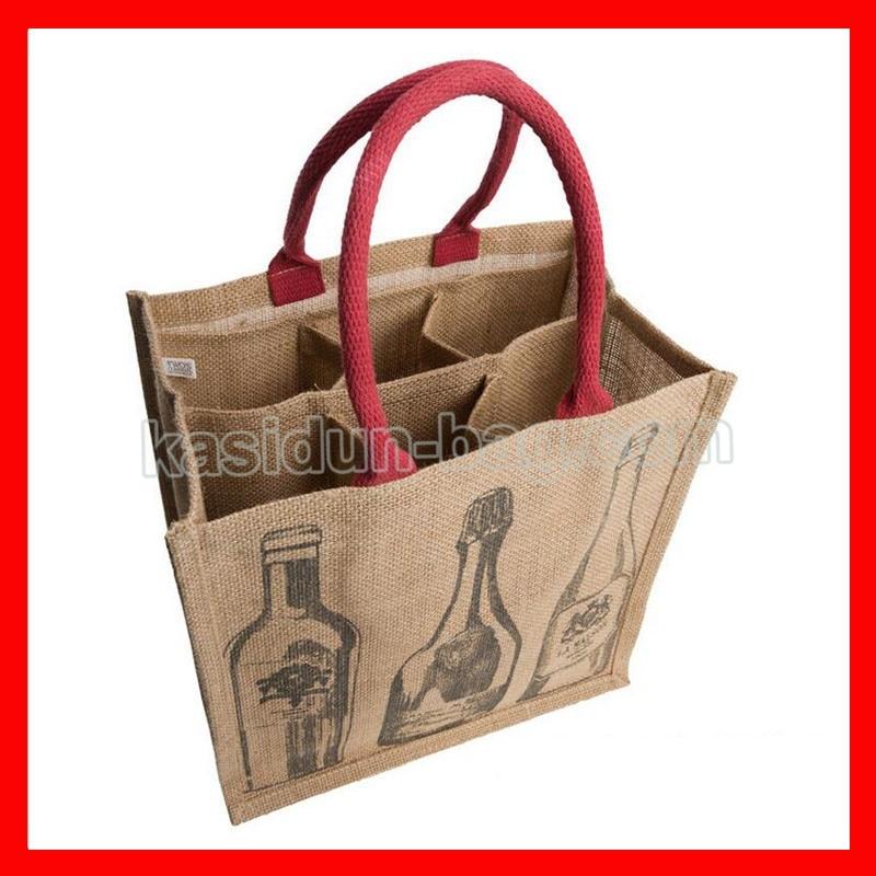 (200pcs/lot) Size W30xH35xD20cm 6 Bottles Wine Jute Bags