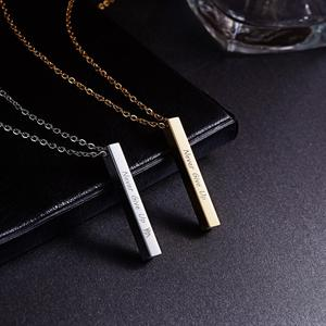 Simple Gold Color Stainless Steel Vertical Bar Necklaces Engraved Never Give UP Inspirational ID Pendent Necklace Jewelry Gift