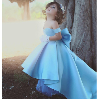 Elegant Off Shoulder High Low Satin Flower Girls Dresses Strapless Kids Pageant Gowns With Bow First Communion Dress