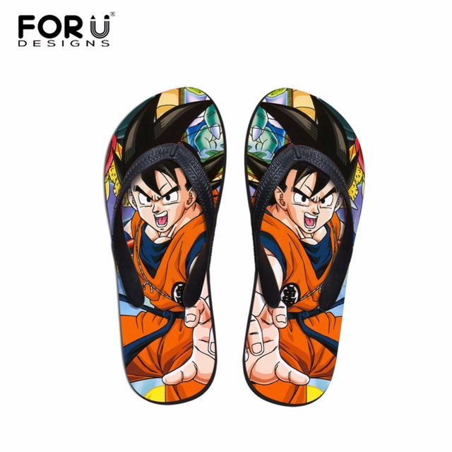 38d3fa68ae29e FORUDESIGNS 2018 Women Casual House Slippers Anime Dragon Ball Pattern  Summer Flats Flipflops Beach Sandals for Ladies Student