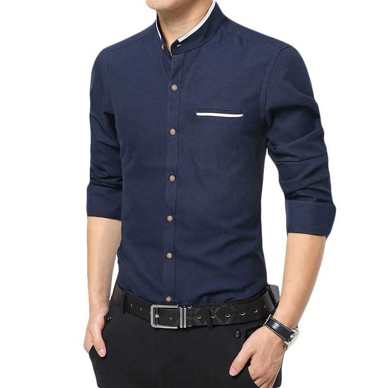 2019New Style Male High Quality Pure Cotton Slim Fit Long Sleeve Shirts/men Stand Collar Pure Color Business Casual Shirts S-5XL