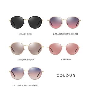 Image 5 - אופנה עגול מקוטב משקפי שמש נשים בציר אלגנטי נהיגה Eyewear מתכת מסגרת נקבה Oculos דה סול UV400