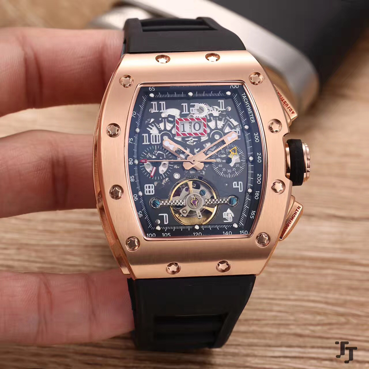 Роскошные новые брендовые черные резиновые мужские часы сапфировое стекло автоматические механические розовое золото серебро черный AAA + т...