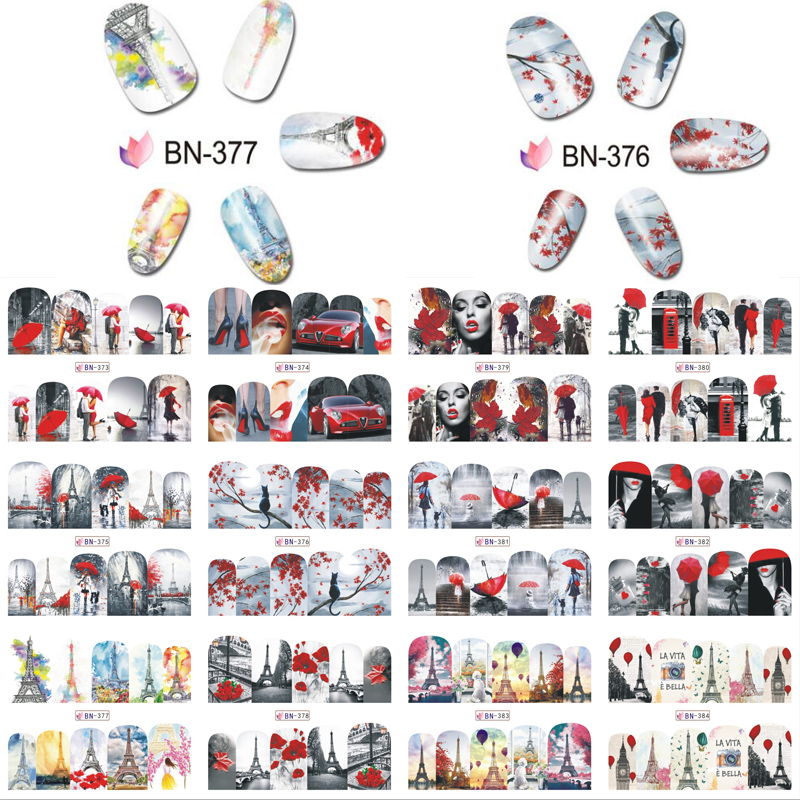 1pcs Nail Art Sticker Aesthetic Series Pictures Elegant DIY Manicure Decorations Water Transfer Decals Nails Art Stickers Set in Stickers Decals from Beauty Health