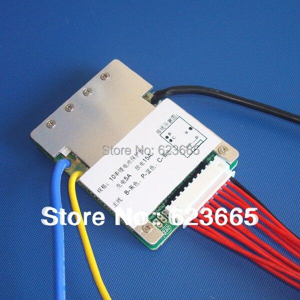 3.6 V/3.7 V celular 10 s 36 V 10A/15A BMS utilizado para 36 V 10ah 12ah 15ah batería 15A continua 50A pico de descarga con la función de equilibrio