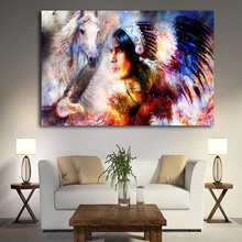 Watercolor Native Indian Girl with Horse Portrait Canvas Art Scandinavian Poster and Print Wall Picture for Living Room