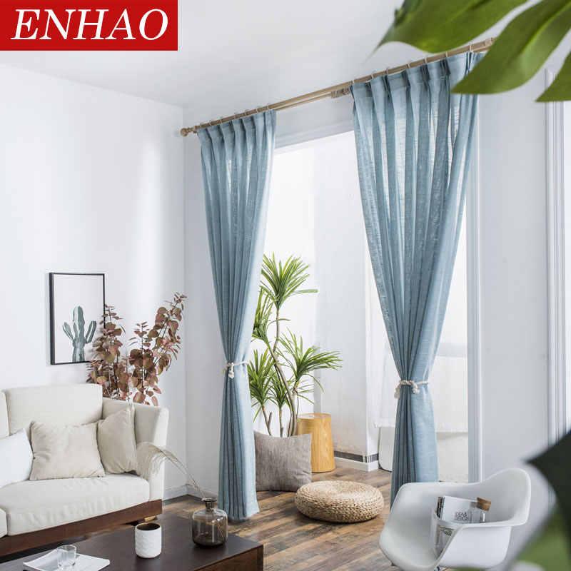 ENHAO โมเดิร์นผ้าม่าน Tulle สำหรับห้องนั่งเล่นห้องนอนห้องครัว Tulle ผ้าม่านหน้าต่าง Voile ผ้าม่าน SHEER แผง Windows