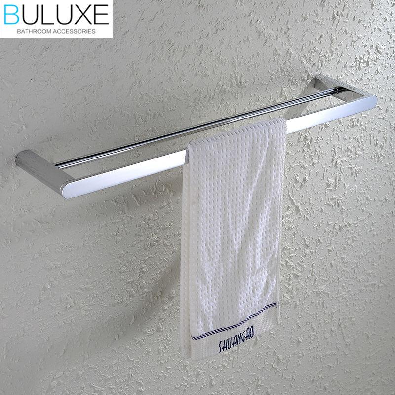 BULUXE Brass Bathroom Accessories Towel Bar Rack Holder Chrome Finished Wall Mounted Bath Acessorios de banheiro HP7736