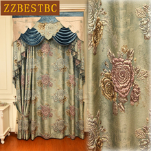 Top Royal Noble blue 4D jacquard shading villa curtains for Living Room with high quality Embroidered Voile Curtain Bedroom