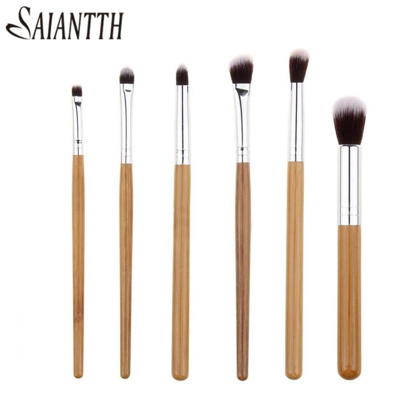 SAIANTTH 6pcs nature bamboo makeup brushes set Professional foundation eyeshadow eyeliner lip cosmetic kit eyes pincel maquiagem