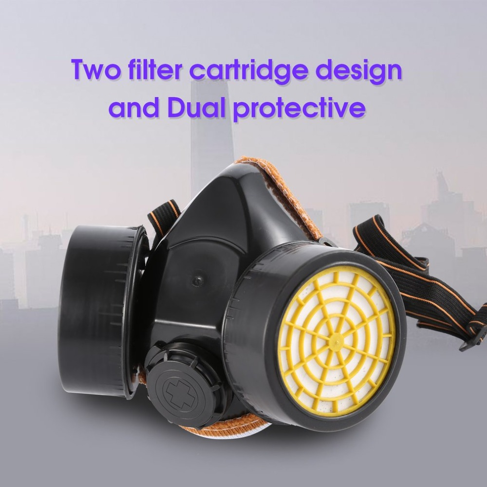 Black Gas Mask Emergency Survival Safety Respiratory Gas Mask Anti Dust Paint Respirator Mask with 2 Dual Protection Filter anti splash resistant high temperature aluminum alloy bracket mask safety protection mask