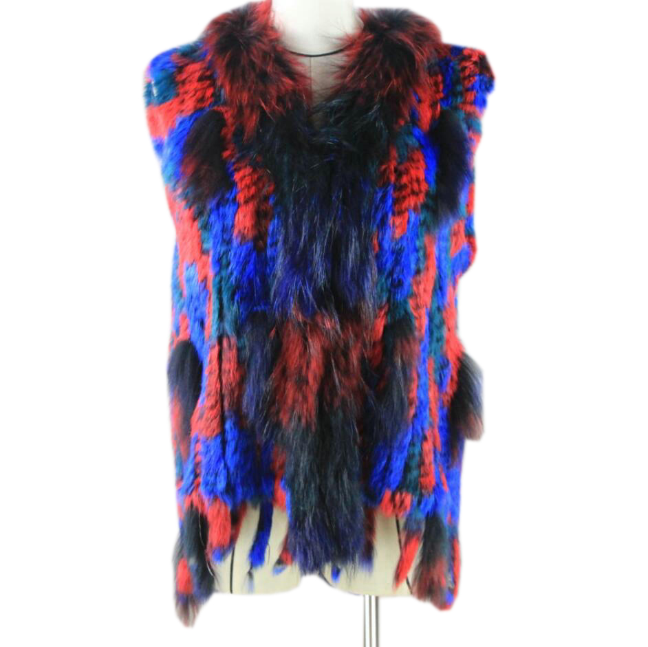 Harppihop*Women Genuine Knitted Rabbit Fur Vests with tassels Raccoon Fur Trimming Waistcoat wholesale drop shipping