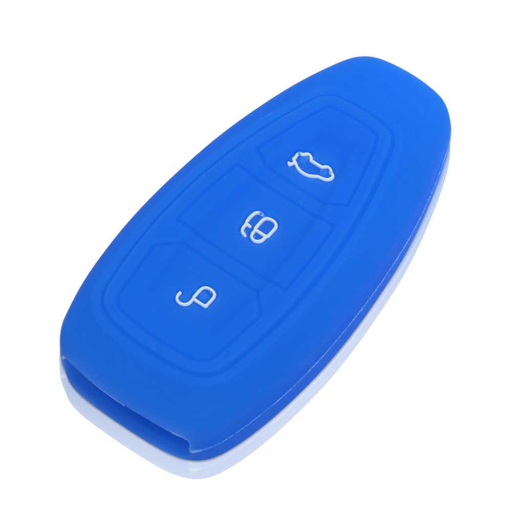 Silikon Penutup Kunci Mobil Kasus Set Fob Kulit Protector Untuk Ford Melarikan Diri Mondeo Ecosport Kuga Focus ST 2 3 Pintar Kunci Mobil aksesoris