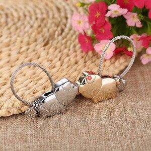 Image 3 - Milesi cute kiss Pig couple keychain for lover christmas gift women key holder chain keyring fashion souvenir pendant k0176