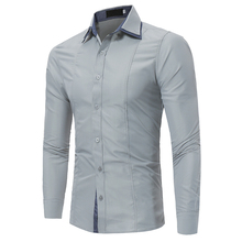 Brand 2017 Fashion Male Shirt Long-Sleeves Tops Double Collar Sleeves Patch Casual Mens Dress Shirts Slim Men Shirt