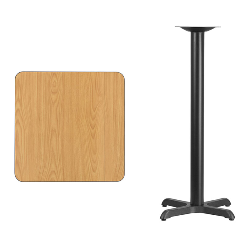 Flash Furniture 24'' Square Natural Laminate Table Top with 22'' x 22'' Bar Height Table Base virginia cavaliers l211 42 tall logo pub table by holland bar stool company with black wrinkle base and 28 table top diameter