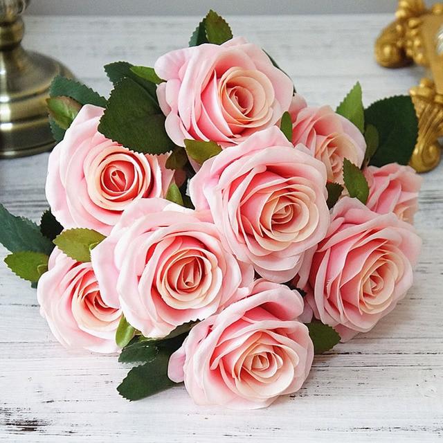 Roses artificielles 10 têtes tenue de mariée mariage | Bouquet de fausses fleurs de roses vrai Touch pour décoration de jardin maison