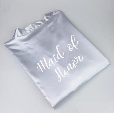 C & Fung nowy szlafrok dla panny młodej i druhny z białymi czarne litery matka siostra ślub panny młodej prezent szlafrok kimono satynowe szaty