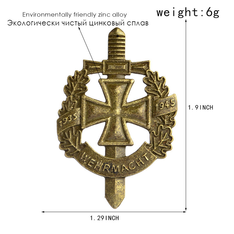 WWII WW2 Pin and Brooch Bronze Ancient German Army Military Wehrmacht Pin Badge Hat Bag Clothes Lapel pin Men's jewelry 3
