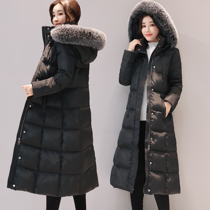 Women White Duck Down Jacket Winter Warm Large Fur Collar Hooded Thick Long Down Coat Female Casual Slim Parkas Outwear SF1066