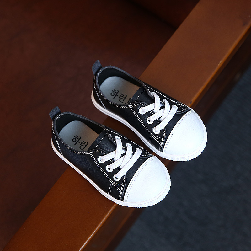 Kids Sneakers Boys Single Shoes Children Genuine Leather Shoes Black White School Shoes For Boys