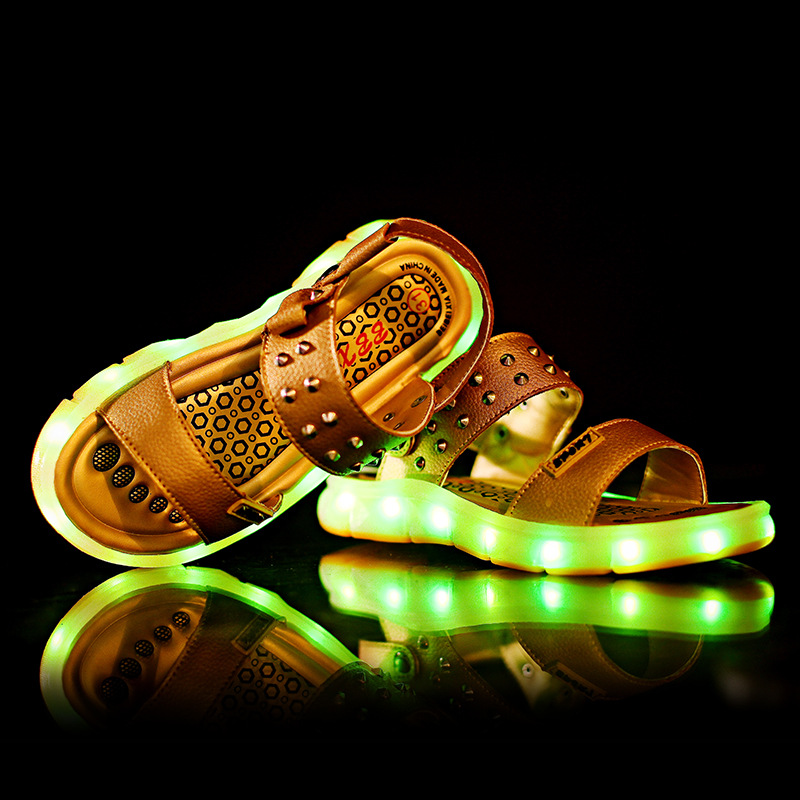 2018New Brand Children Led Lamp Sandals USB Charging Beach Outdoor Sandals Boys Girls Luminous Sandals Size25-38 boys girls antislip usb sandals summer cut out comfortable flats beach sandals kids children breathable led shoes with light