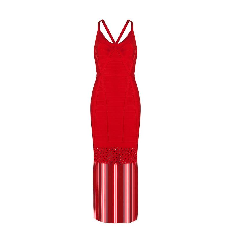 Longue Noir Gros Femmes Robe Hot Creux Celebrity 2017 Luxe Bandage Maxi Cage En Inspiré Glands Dress rouge Grille Embelli wTnOnCaq