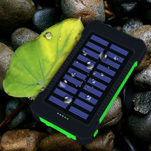 Portable Waterproof Solar Power Bank 10000mah Dual-USB Solar Battery powerbank for all Phone Universal Batteries Battery Charge(China)