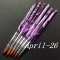 New 6 PCS Acrylic Kolinsky Sable Nail Art Flat Brush Design Dotting Painting Crystal Pen Set