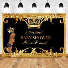 Black Baby Shower Backdrop Little Prince Royal Gold Crown Photography Background Boy Party Banner Backdrops