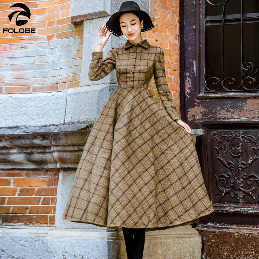 Folobe Winter Verdicken Frauen 2018 Damen Vintage Wolle Kleid Elegante Warme D Plaid 8wPknX0O