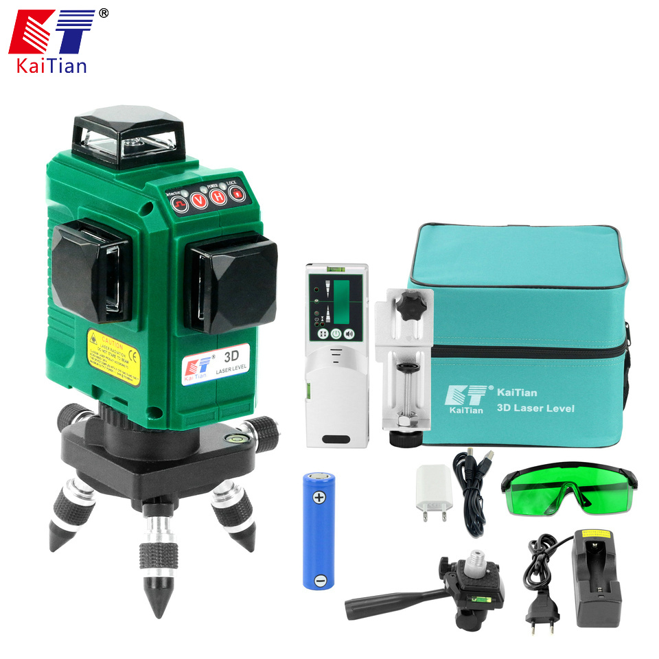 Kaitian 3D 12Lines Green Laser Level Tripod Self-Leveling 360 Horizontal Rotary Vertical Cross Laser Nivel Beam Line Lazer Level kacy al04 laser level 2 line rotary 360 leveling 1v1h horizontal and vertical cross lazer levels lines excluding tripod