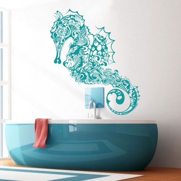 Lovely Home Decoration Seahorse Vinyl Wall Decal Hippocampus Fish Sticker Ocean  Wall Art Graphics 147cm X73cm